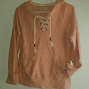 Peach - •Hollister• | Lace-Up Hooded Pullover